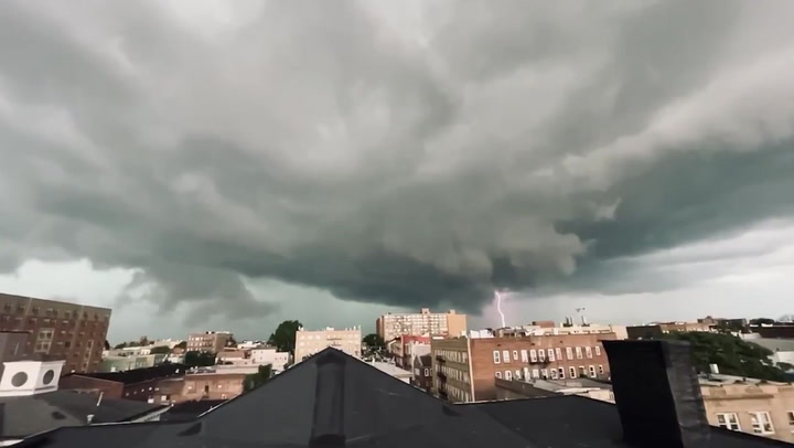 Lightning strikes as huge thunderstorm moves into New Jersey and New York City