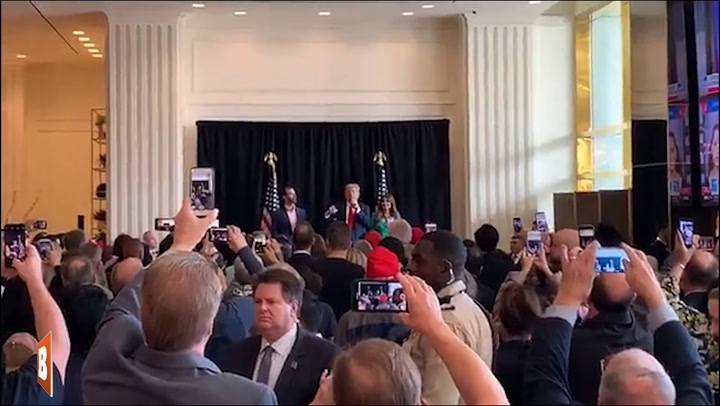 President Trump Delivers Impromptu Speech at Hotel Ahead of Dem Debate