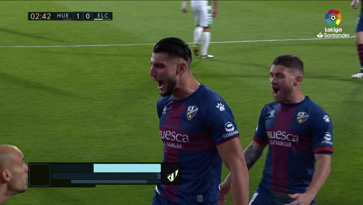 Gol de Rafa Mir (1-0) en el Huesca 3-1 Elche