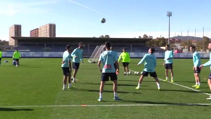 El Espanyol realiza el último entrenamiento antes del partido ante el Atlético de Madrid