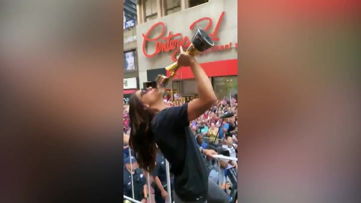 Despiporre en el desfile de las estadounidenses en Nueva York
