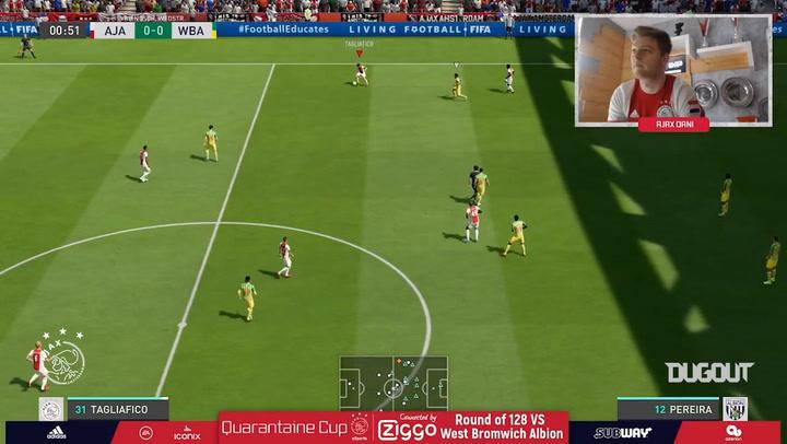 El triunfo del Ajax por 5-1 ante el West Bromwich Albion en el torneo 'FIFA Quaranteam'