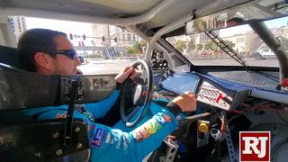 Kyle Busch drives on the Las Vegas Strip