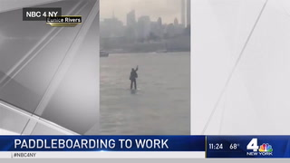 New Jersey man paddle boards to business meeting in a suit to avoid being late