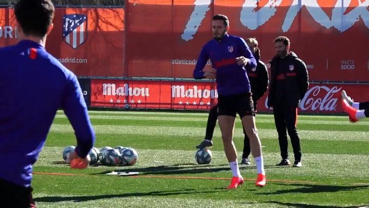 Los jugadores del Atlético se han entrenado por última vez antes del derbi