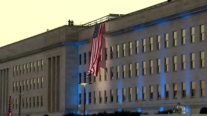 Moment US flag is unfurled at Pentagon to mark 9/11 anniversary