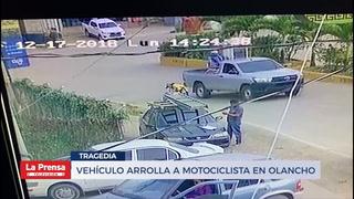 Vehículo arrolla a motociclista en Olancho