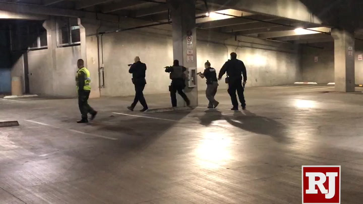 Officials set up the training exercise to include multiple active shooters, a barricaded suspect and multiple casualties. (Katelyn Newberg/ Las Vegas ...