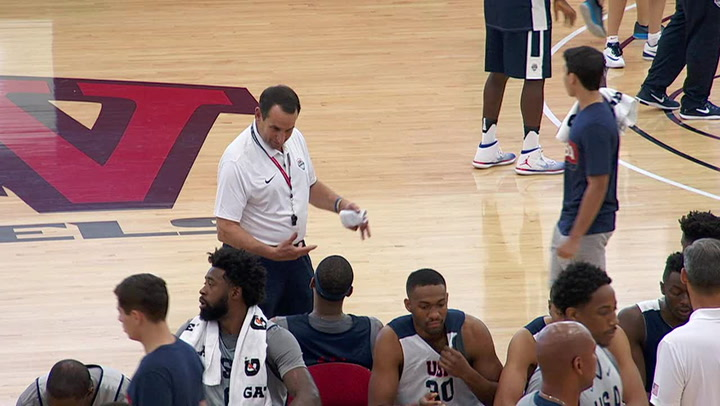 Coach Mike Krzyzewski Wired for Sound at Practice Day 2
