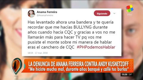 La denuncia de Anamá Ferreira contra Andy Kusnetzoff