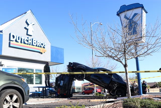One person injured in car crash outside Dutch Bros – VIDEO