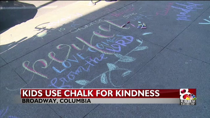 Kids take to sidewalks to write uplifting quotes in Columbia