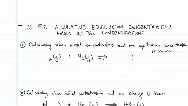 Equilibrium Constants from Initial Concentrations