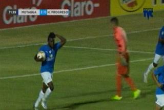 Jerrel Britto anota el 1 - 2 de Honduras Progreso ante Motagua