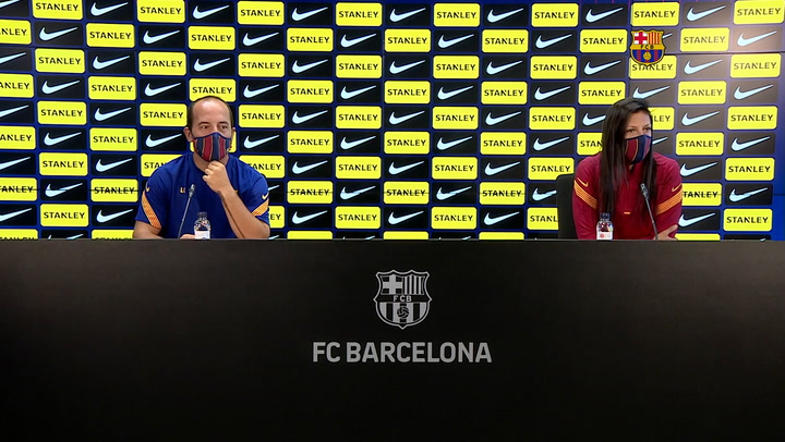 Rueda de prensa de Lluís Cortés y Jennifer Hermoso del FC Barcelona Femení, previa al partido contra el Real Madrid