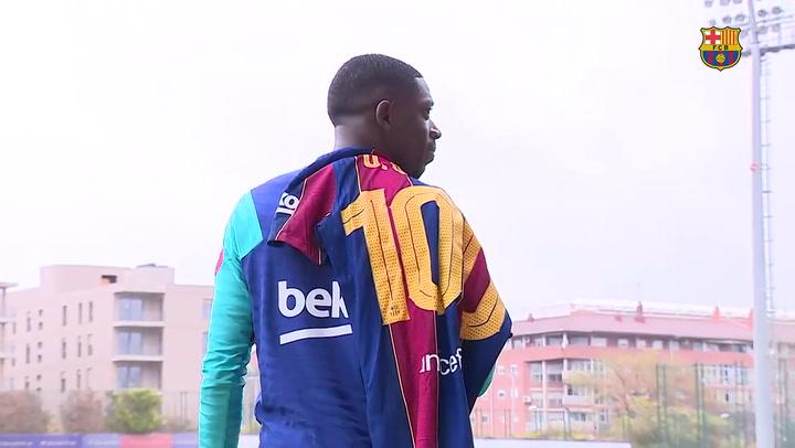 Dembélé cumplió su partido número 100 con el Barça ante el Alavés