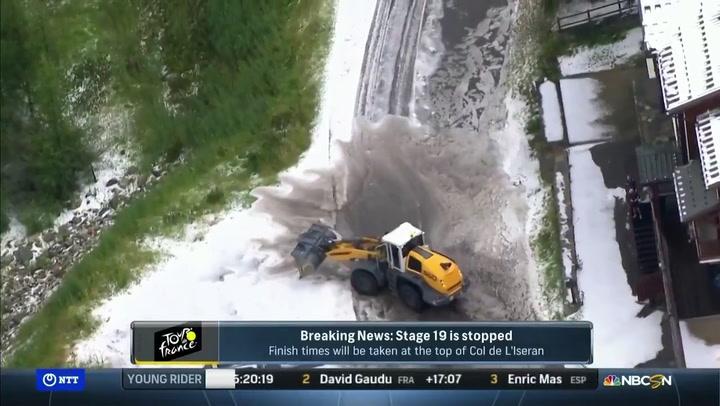 ¡Lo nunca visto! Suspenden la 19ª etapa del Tour por nieve y granizo