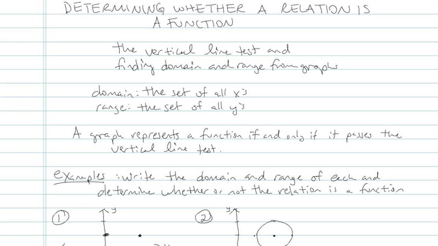 Relations and Determining Whether a Relation is a Function - Problem 5
