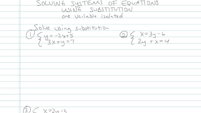 Solving Systems of Equations using Substitution - Problem 6