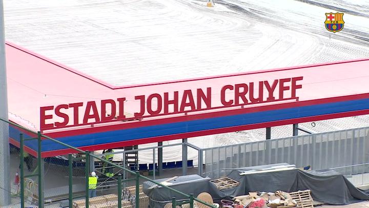 El nombre de Johan Cruyff ya preside su Estadi