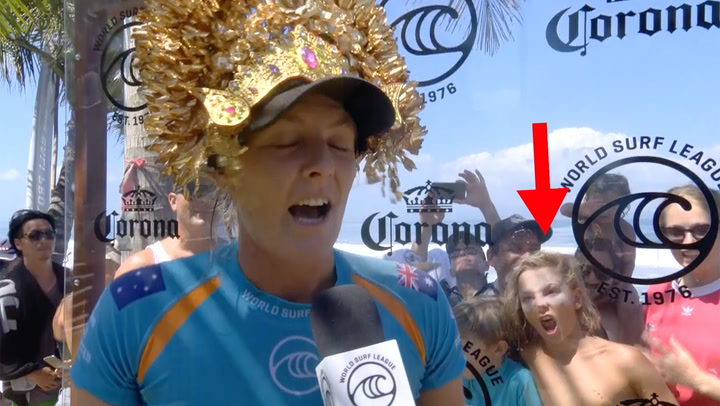 A grom behind Stephanie Gilmore's post-heat interview stole the show.