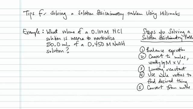 Solving Stoichiometry Problems Using Millimoles