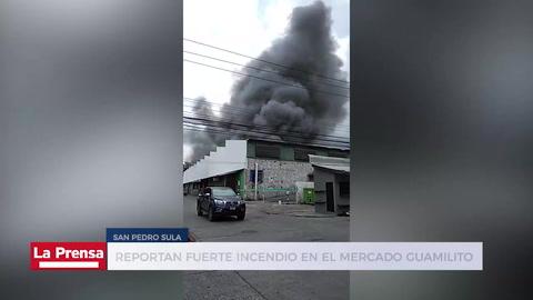Reportan fuerte incendio en el mercado Guamilito de San Pedro Sula