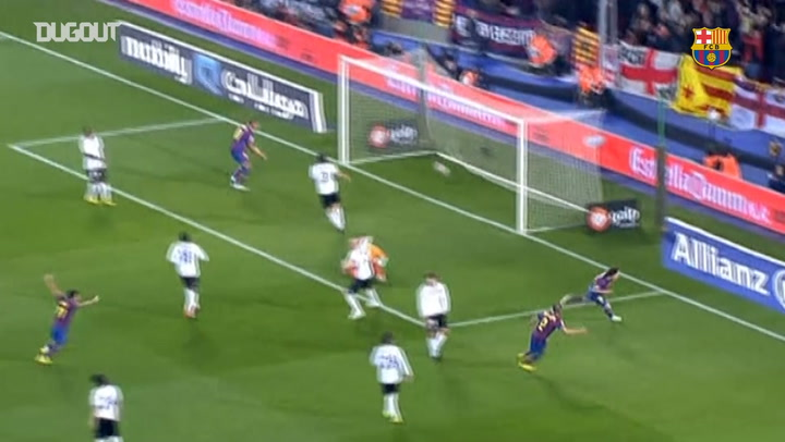 El primer hat-trick de Leo Messi ante el Valencia CF