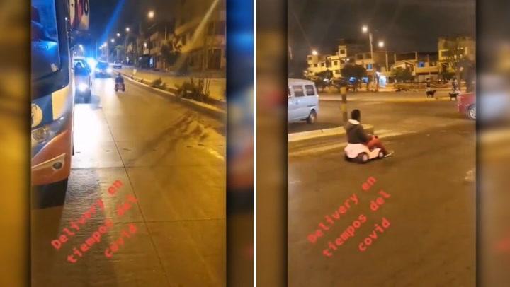 Viral: Joven transita con carrito de juguete junto a buses de transporte público