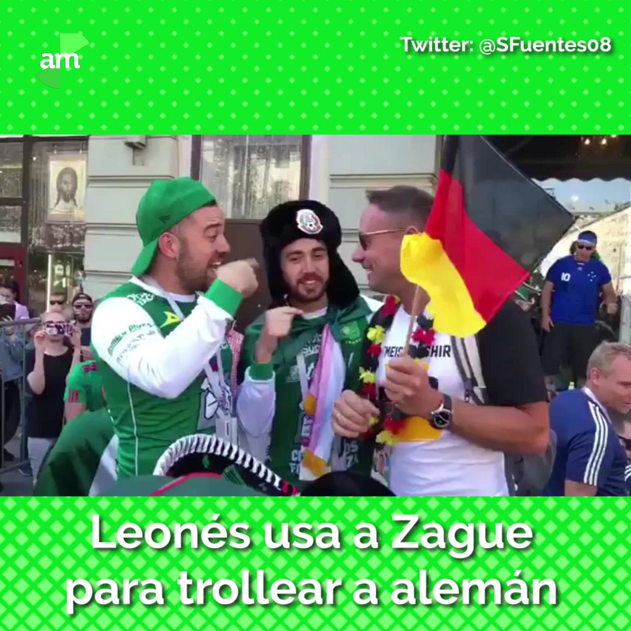 Video: Aficionados de León usan a Zague para 'trollear' a un alemán en Rusia
