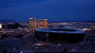 A Flyover of Allegiant Stadium At Night – VIDEO