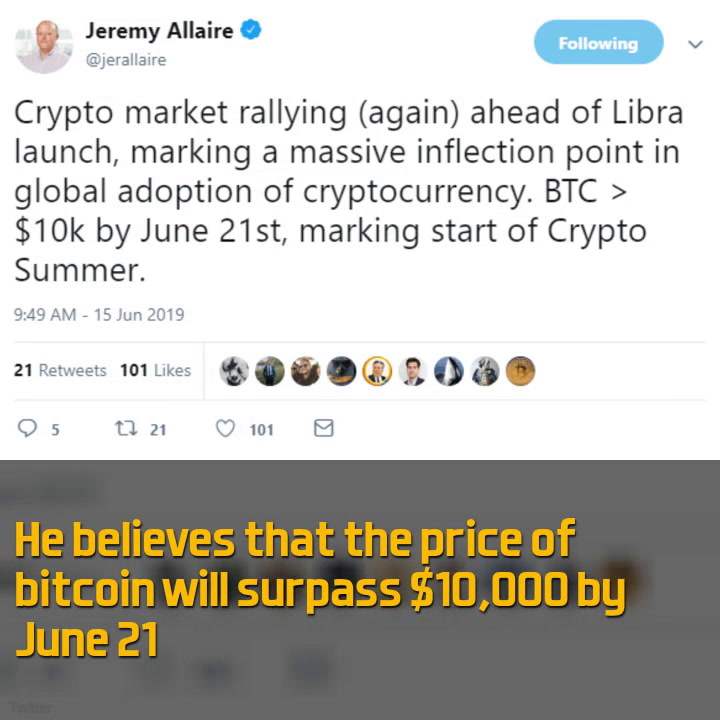 Jeremy Allaire: Bitcoin to Surpass $10,000 in June Because of Facebook