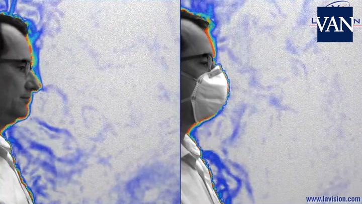 LaVision muestra cómo las máscaras restringen la propagación del aire exhalado