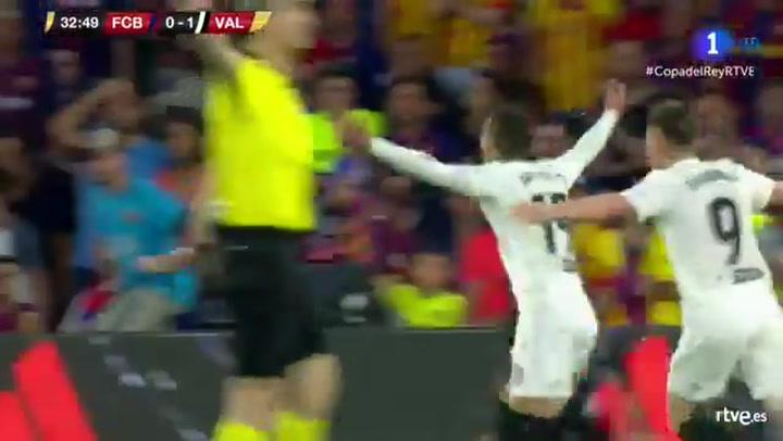Copa del Rey: Barça-Valencia. Gol de Rodrigo (0-2)