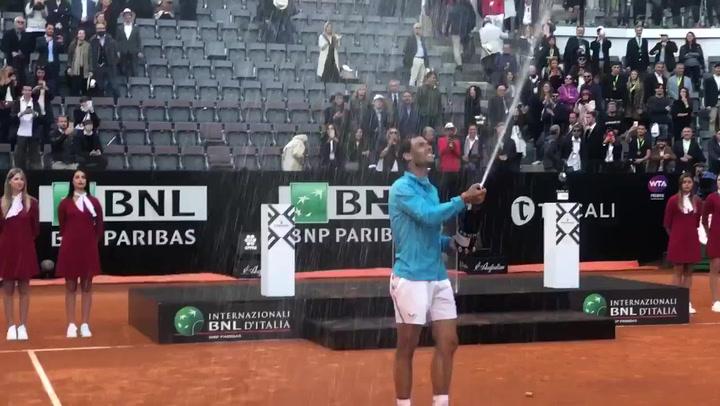 Así celebró Nadal su novena victoria en el Masters de Roma