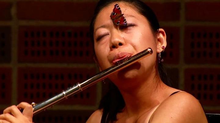 Innpåsliten sommerfugl ingen hindring for fløytespiller