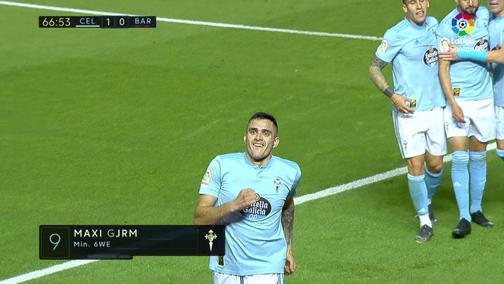 LaLiga: Celta - Barça. Gol de Maxi Gómez en el minuto 67 (1-0)
