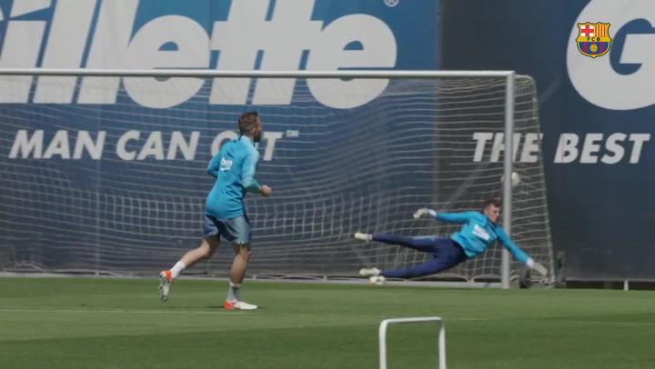 Primer entrenamiento del Barça con vistas a la final de Copa