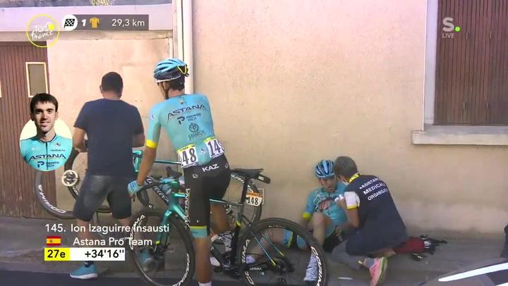 Ion Izagirre abandona el Tour tras una dura caída, con Rojas implicado