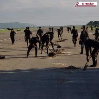 Avanza la limpieza del aeropuerto Ramón Villeda Morales.