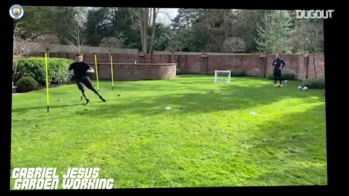 Manchester City squad put in the work at home