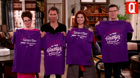 Happy #SpiritDay from Queerty and Will & Grace.