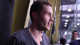 Brayden McNabb player talks about first team practice