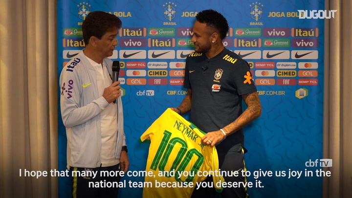 Neymar Given Special Jersey To Mark 100 Games With Brazil