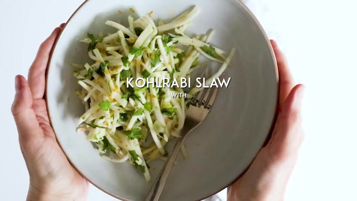 Kohlrabi Slaw With Cilantro Jalapeno And Lime Feasting At Home