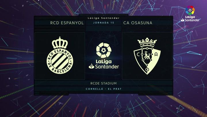 LaLiga Santander (J15): Resumen y goles del Espanyol 2-4 Osasuna