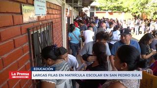 Largas filas en matrícula para matrícula en San Pedro Sula
