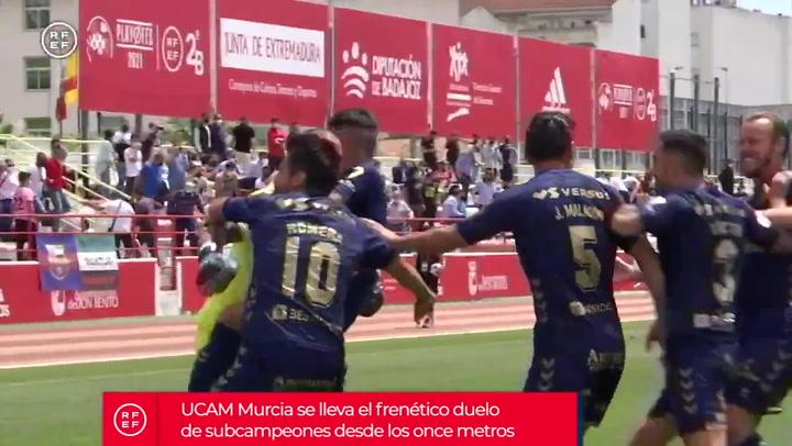 El UCAM Murcia celebra su pase ante el FC Barcelona B