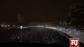 Driving a snowy Sunday night in Summerlin
