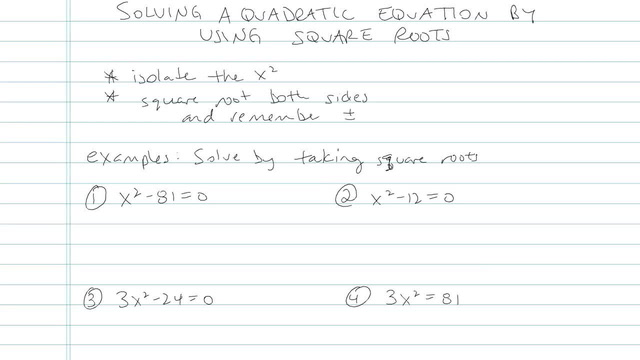 Solving Quadratic Equations Using Square Roots - Problem 14